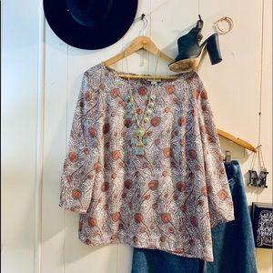 Loft boho feather print blouse